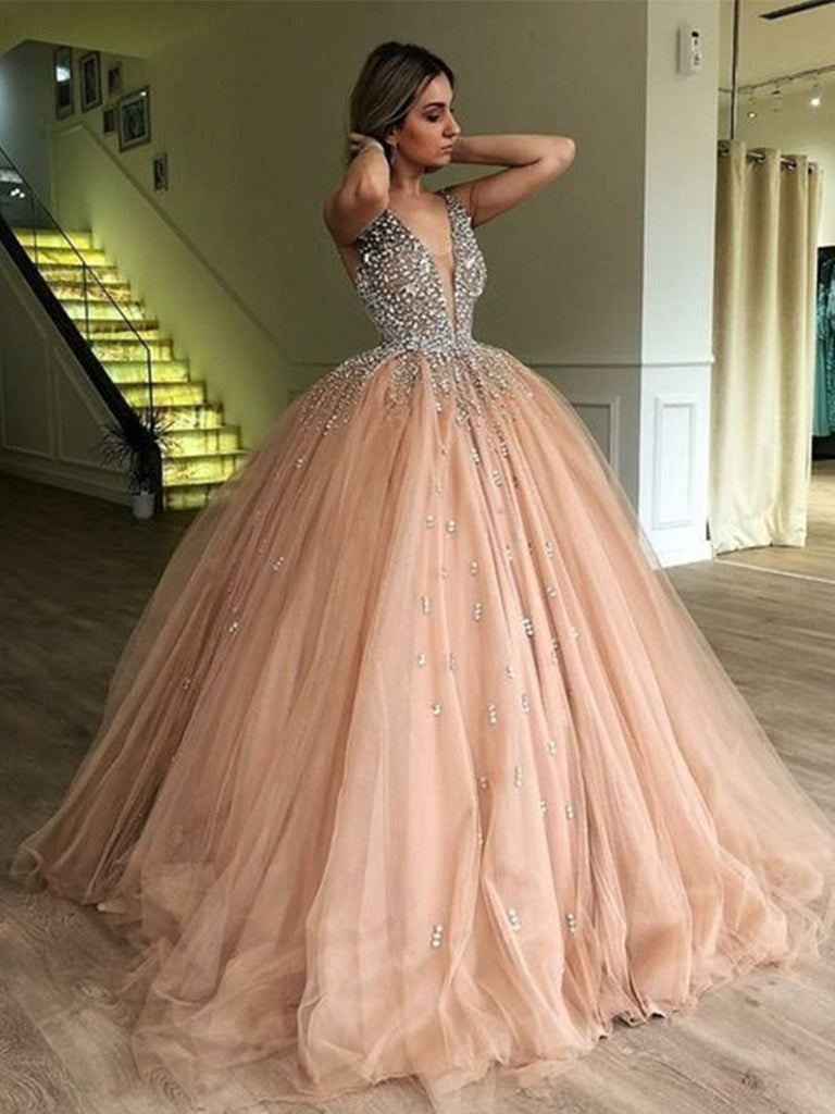 V-neck Ball-Gown Tulle Prom Dresses, V-neck Ball-Gown Beaded Formal Evening Dresses