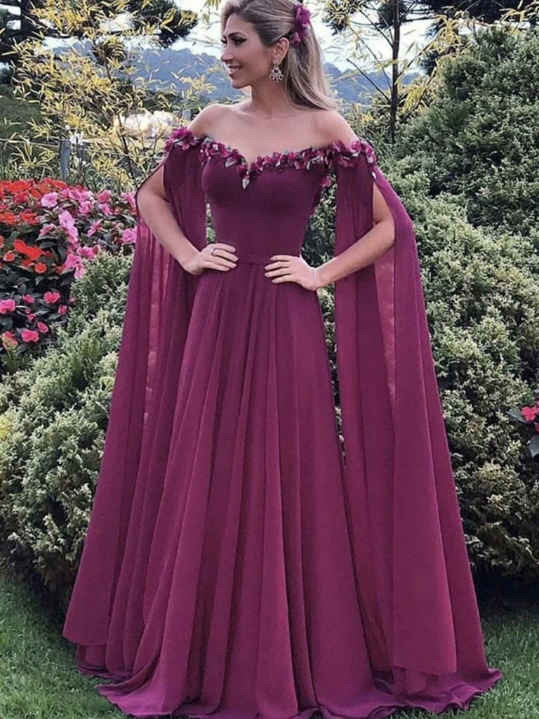 Elegant Long Sleeves Purple Chiffon Floral Long Prom Dresses, Purple Floral Formal Evening Graduation Dresses