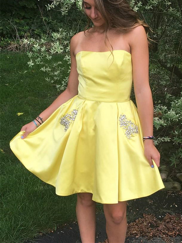 Strapless strap Short Yellow rhinestones pockets prom dress, Short Yellow graduation homecoming evening dress