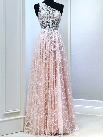 A Line One Shoulder Pink Lace Long Prom Dresses, Pink Lace Formal Evening Dresses