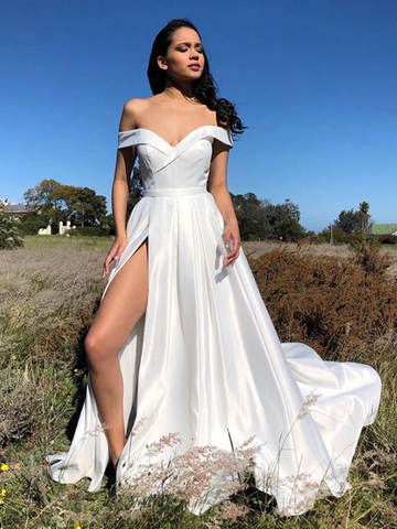 White Off Shoulder Satin Long Prom Dresses With Leg Slit, White Bridesmaid Dresses, White Off The Shoulder Formal Evening Graduation Dresses