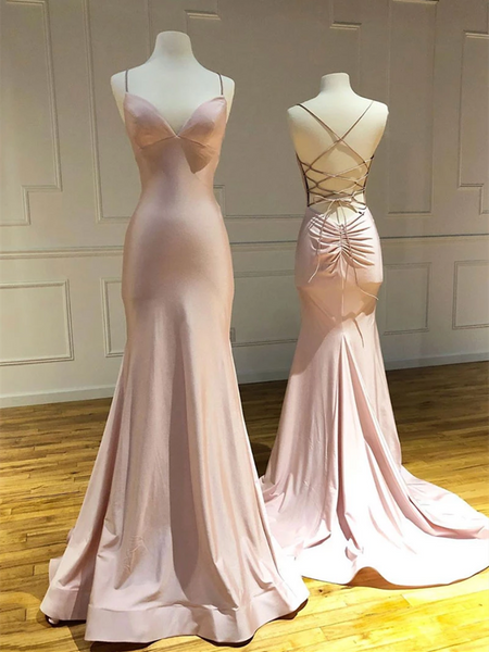 V Neck Pink Backless Satin Long Prom Dresses, Mermaid Pink Backless Formal Evening Dresses