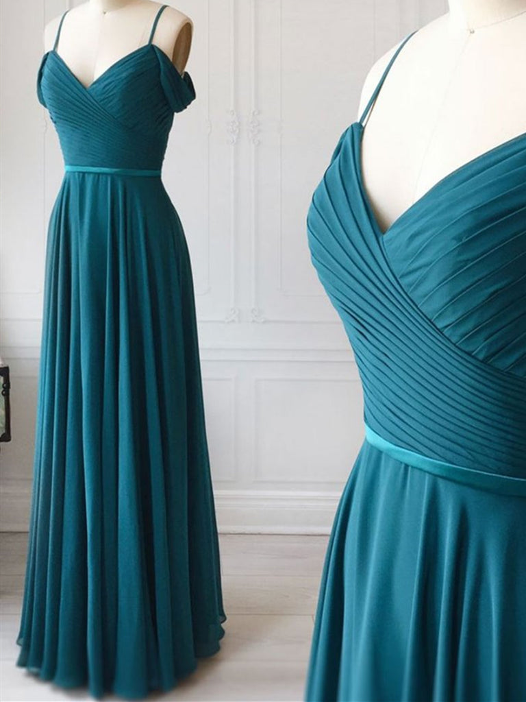 V Neck Off Shoulder Blue Long Prom Dress , Off The Shoulder Blue Bridesmaid Formal Evening Dresses