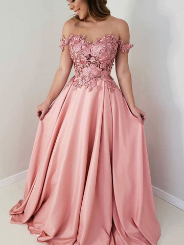 Pink lace off shoulder prom dress, pink lace evening dress