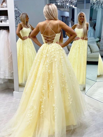 Yellow Backless Tulle Lace Long Prom Dresses, Backless Yellow Lace Formal Evening Dresses