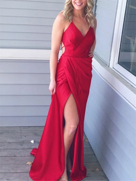 V Neck Mermaid Pleated Red Backless Long Prom Dresses With High Leg Slit,  Mermaid Red Backless Formal Evening Dresses