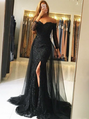 Black off-the-shoulder long sleeves mermaid lace prom dress with leg split, Long sleeves mermaid lace evening dress