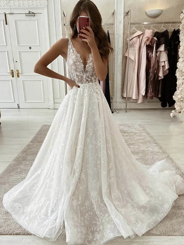 V Neck White Tulle Lace Long Wedding Dresses, Tulle Long White Lace Prom Dresses, V Neck White Lace Formal Evening Dresses