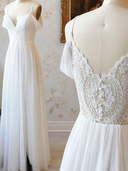 Simple White Off Shoulder Chiffon Lace Long Prom Dresses, White Off The Shoulder  Lace Evening Dresses