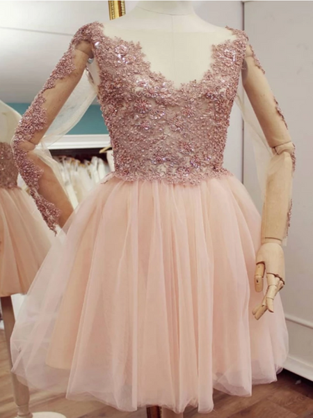 Pink Tulle Lace Short Prom Dress, Long Sleeves Pink Lace Short Formal Graduation Dress