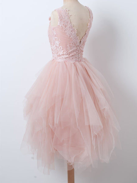 V Neck Pink Tulle Short Prom Dress, V Neck Pink Tulle Short Party Dress, Evening Graduation Homecoming Dress