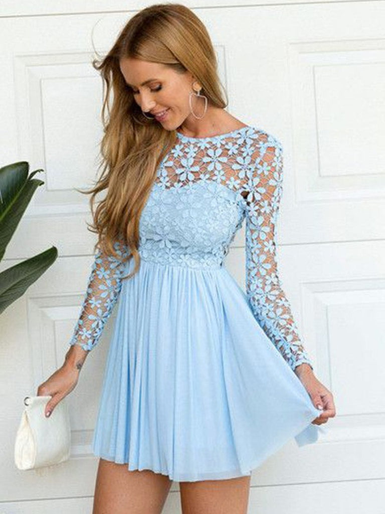 A line round neck blue lace backless long sleeves prom dresses, Long sleeves blue lace formal graduation homecoming dresses