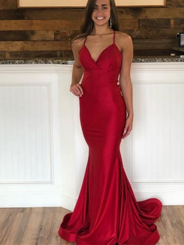 V Neck Burgundy Mermaid Backless Long Prom Dresses, Burgundy Mermaid Formal Evening Dresses