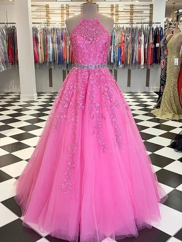 Halter Neck Pink Lace Long Prom Dresses with Belt, Pink Lace Formal Evening Dresses