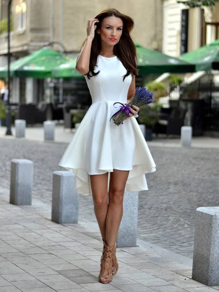 A line round neck white short prom dresses, Short white high low formal graduation homecoming dress