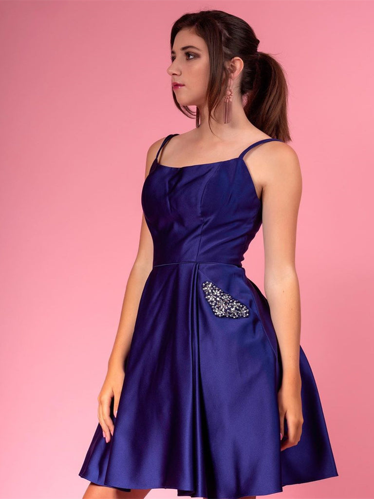 Dark Navy Blue Short Prom Dresses With Pocket Beading, Dark Navy Blue Short Formal Graduation Homecoming Dresses