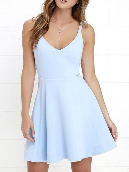 A Line V Neck Light Blue Cheap Short Homecoming Dresses, Short Prom Dresses