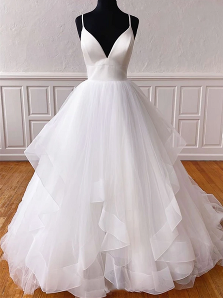 V Neck White Tulle Long  prom gown, White Tulle wedding Dresses, V Neck Tulle prom Dresses, White Tulle Formal Evening Dresses