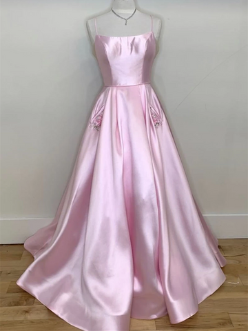 A Line Spaghetti Straps Pink Satin Long Prom Dresses, Spaghetti Straps Pink Satin Long Formal Evening Dresses