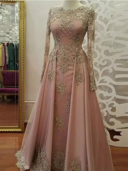 Round neck long sleeves applique long prom dresses