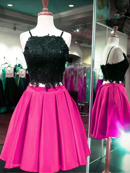 Custom made two piece pink and black short prom dress, Two piece lace homecoming dress
