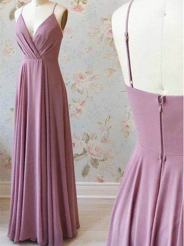 Simple Pink Chiffon Long Prom Dress, Pink Long Formal Evening Dress