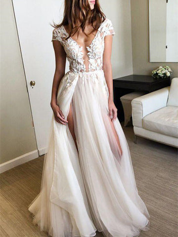 Custom Made Deep V Neck Cap Sleeves White Lace Long Prom Dresses, Open Back Lace Front Slit Wedding Party Dresses