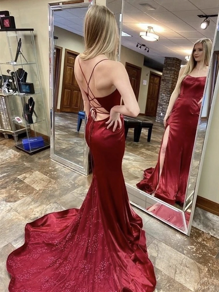 Mermaid Burgundy Backless Long Prom Dresses with Sweep Train, Open Back Wine Red Mermaid  Long Formal Evening Dresses