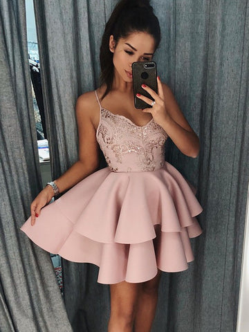 Pink Satin Spaghetti Straps A-Line Short Prom Dresses, Pink Short Homecoming Graduation Dresses