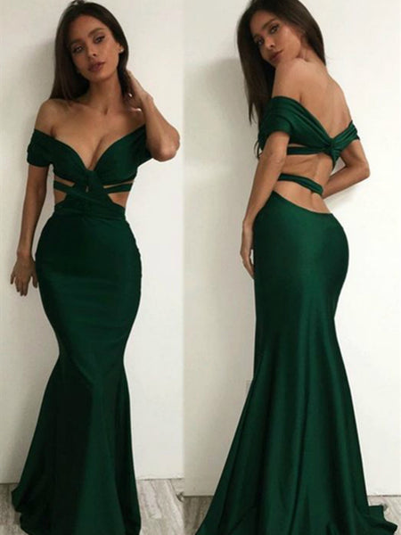 Emerald Green Off Shoulder Mermaid Long Prom Dress, Emerald Green Formal Dress, Off The Shoulder Evening Dress