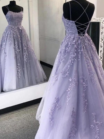 Lavender Backless Tulle Lace Long Prom Dresses, Open Back Purple Tulle Lace Formal Evening Graduation Party Dresses