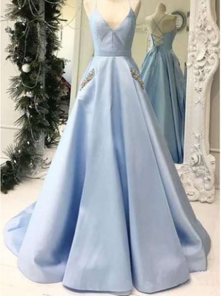 V Neck Sky Blue Satin Long Prom Dresses with Pocket Beaded,  Sky Blue Formal Evening Dress