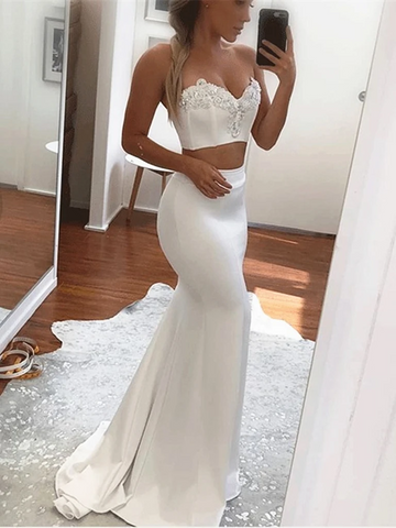 Sweetheart Neck White 2 Pieces Mermaid Prom Dresses, Two Pieces Mermaid Beading Long Formal Evening Dresses