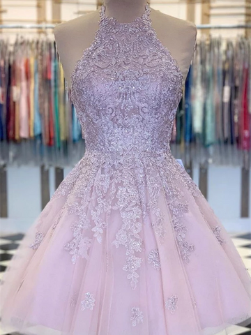 Pink Tulle Lace Short Prom Dresses,  Pink Tulle Lace Short Homecoming Evening Dresses