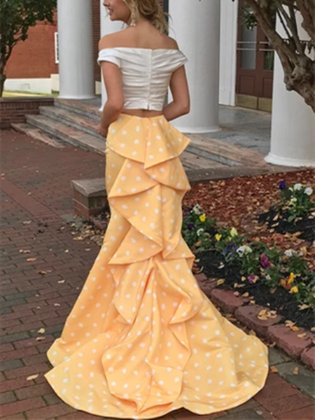 Sexy Two Pieces Off the Shoulder White and Yellow Mermaid Prom Dresses,Two Pieces Off Shoulder Evening Dresses