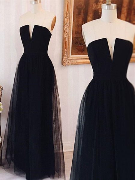 Simple Strapless Strap Tulle Black Long Prom Dress, Strapless Strap Tulle Black Long Formal Dress