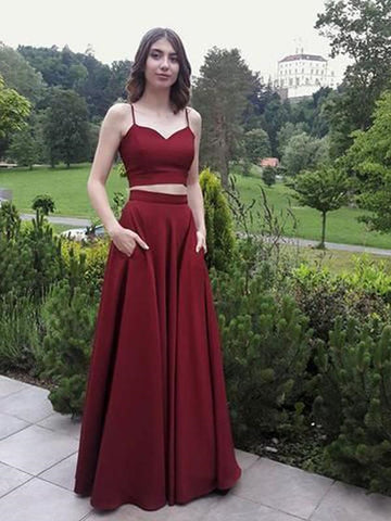 A line Two Pieces Spaghetti Straps Prom Dresses with Pockets, Burgundy 2 Pieces Formal Evening Dresses