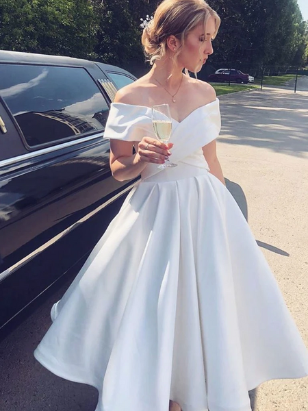 White Satin Off the Shoulder Tea Length Prom Dresses, Off Shoulder White Formal Graduation Homecoming Dresses