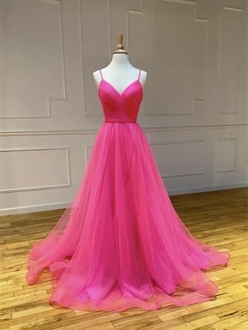 V Neck Hot Pink Tulle Long Prom Dresses,  Backless Hot Pink Tulle Formal Evening Graduation Dresses