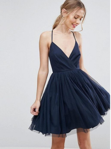 Navy Blue Halter  Short Homecoming Dresses , Navy Halter Blue Short Prom Dresses
