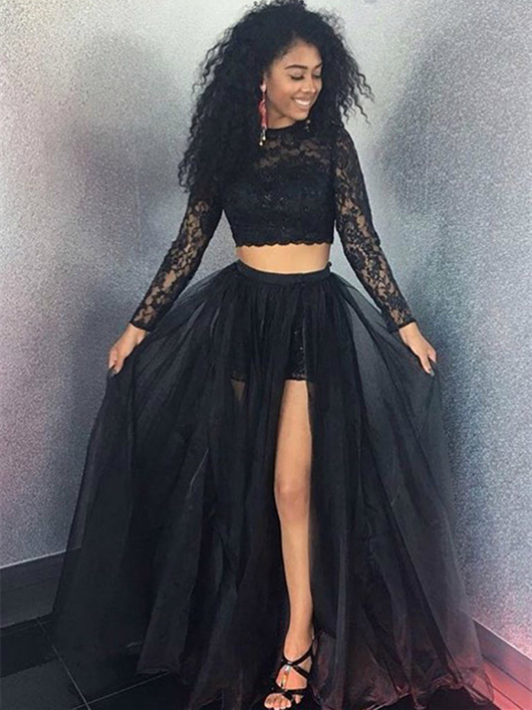 A Line O-Neck Two Pieces Black  Long Sleeves Lace Long Prom Dresses, Two Pieces Black Lace Evening Dresses