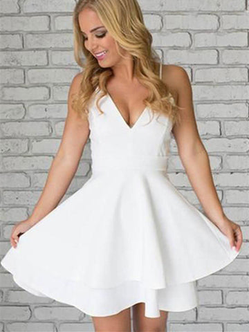 Sexy Spaghetti Straps V Neck White Lace Short Homecoming Graduation Dress
