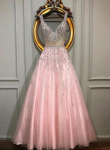 Pink v neck beaded long prom dress, pink  v neck beaded long formal evening dress