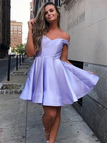 Purple/Pink Off The Shoulder Homecoming Dresses,Off Shoulder Short Cheap Prom Dresses