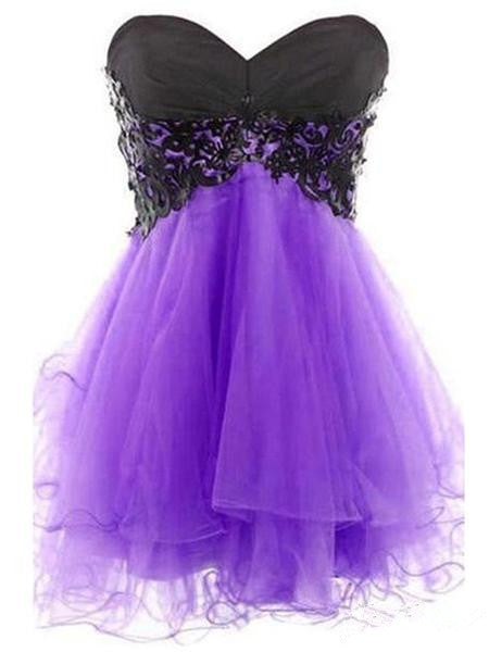 Sweetheart Neck Short Purple Prom Dress with Black Lace, Short Purple Homecoming Dress, Graduation Dress