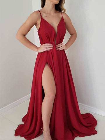 Simple V Neck Burgundy Chiffon Long Prom Dress With Leg Slit. Burgundy Formal Evening Dress