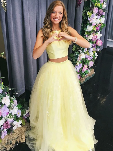 Round Neck Two Pieces Yellow Long Prom Dresses, 2 Pieces Yellow Formal  Evening Dresses