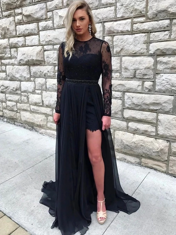 Round Neck Long Sleeves Open Back Lace Black Prom Dresses with Slit, Long Sleeves Black Lace Formal Evening Dresses