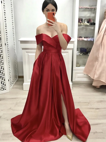 A Line Red Off Shoulder Long Prom Dresses with High leg Slit, Red Off the Shoulder Formal Evening Graduation Dresses