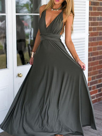 A Line V Neck Grey Chiffon Tying Long Prom Dresses, Grey Chiffon  Formal Evening Dresses